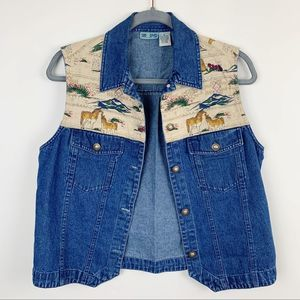 Vintage Boho Horse Denim Button Vest Size Small